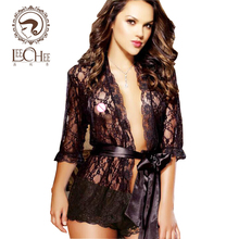 leecheeah126Sexy Lingerie Plus Size Silk Stain Black Kimono Sleepwear Robe+T Pants Sexo latex Night Gown Women Erotic Underwear