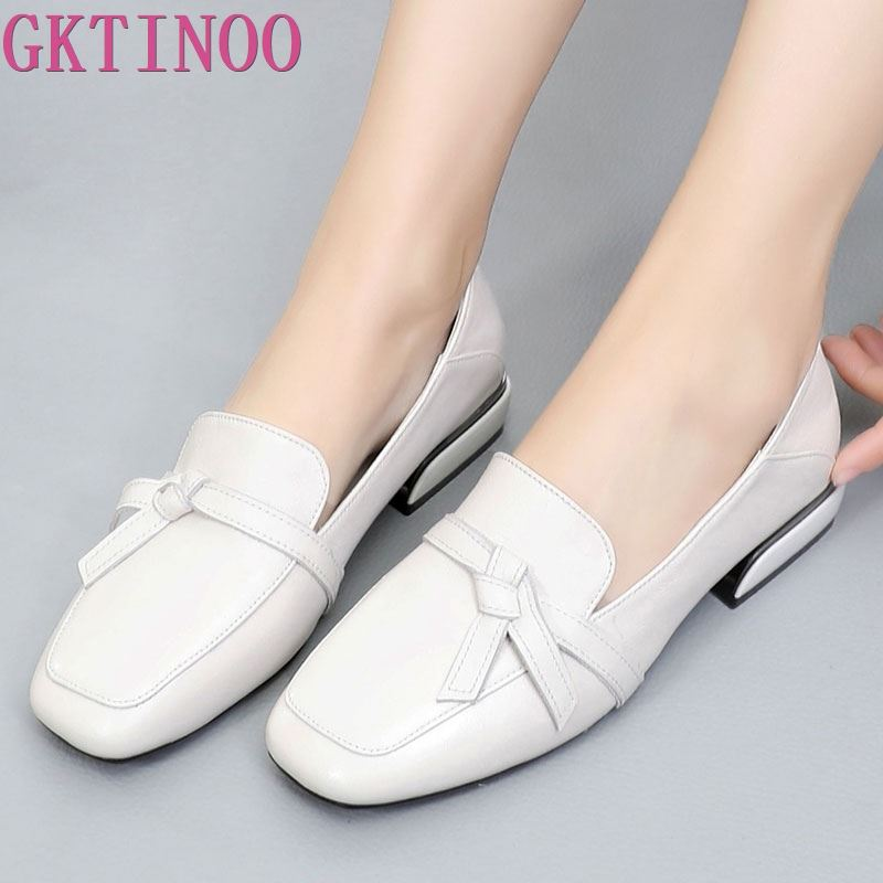 GKTINOO 2019 Square Toe Women Flats Shoes With Bow Genuine Leather Ladies Leather Moccasins European Slip