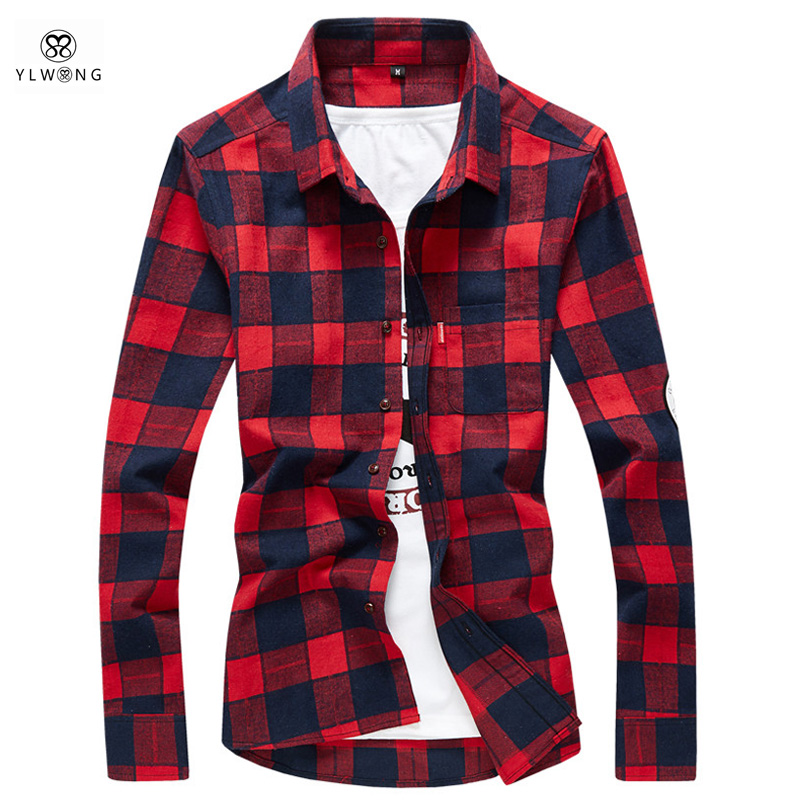 YLWONG Luxury Brand Shirt Men Plaid Flannel Cotton Camisa Masculina Mens Dress Shirts Full Sleeve font