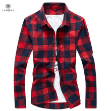 YLWONG Luxury Brand Shirt Men Plaid Flannel Cotton Camisa Masculina Mens Dress Shirts Full Sleeve Tartan Shirt Red Black
