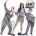 Fantasia Prisioneiros Traje Combinando Família Filho Disfraces Cosplay Traje de Halloween para A Mamãe Papai Uniformes de Jogo Terno Engraçado