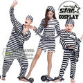 Fantasia Prisoners Costume Family Matching Cosplay Halloween Costume for Mommy Daddy Son Disfraces Game Uniforms Funny Suit