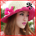 Женщины лето вязка крючком шляпа с цветок шляпа дизайн леди на открытом воздухе лето солнца шляпа