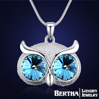 Original Design Fashion Owl Long Necklaces For Women With Swarovski Elements Crystal Jewelry Sweater Necklaces Pendants