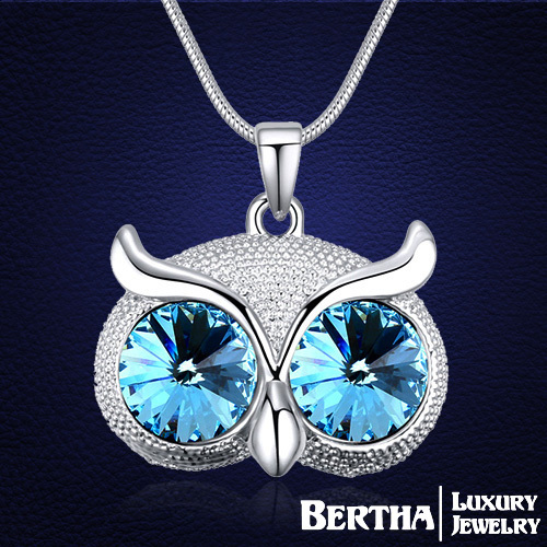 Original Design Fashion Owl Long Necklaces For Women With Swarovski Elements Crystal Jewelry Sweater Necklaces & Pendants