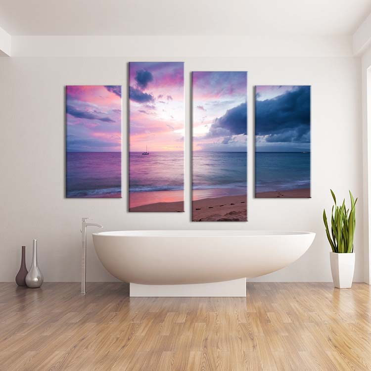 4PCS  oil paintingSunset beach sailing boat  Wall Art Home Decoration Living Room Print On Canvas Modern oil Painting