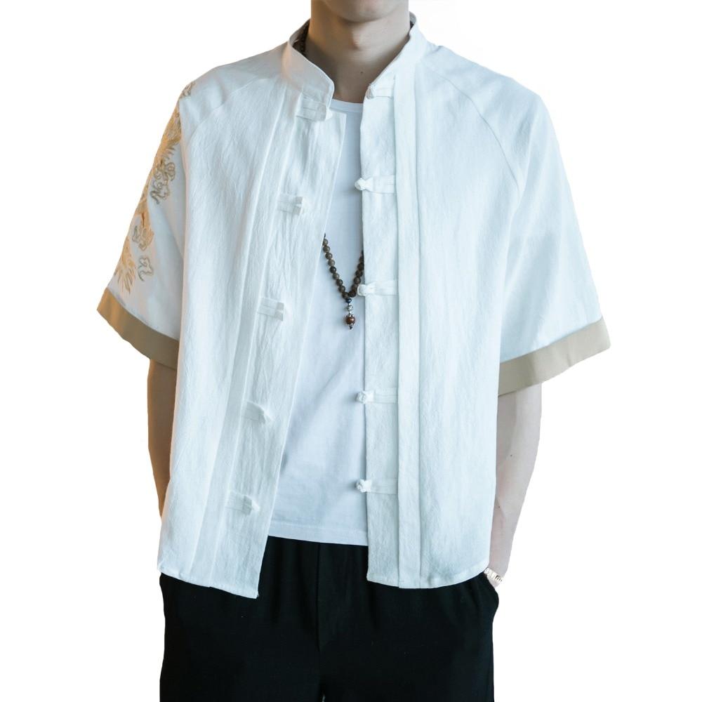 2019 lato mężczyźni chiński styl hafty smok Tang Top luźne rocznika koszula z mieszanki bawełny i lnu Plus rozmiar mężczyzna odzież 3XL 4XL 5XL w Koszule nieformalne od Odzież męska na  Grupa 1