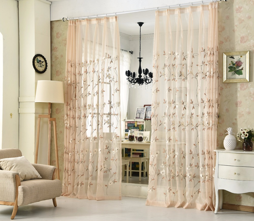European White Embroidered Voile Curtains For Bedroom Sheer Curtains ...
