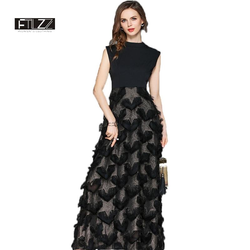 2018 Summer Vintage Maxi Dress Women Slim Sleeveless Black Long Robe Eleagant Ladies Heart shaped Feather Bodycon Party Dresses