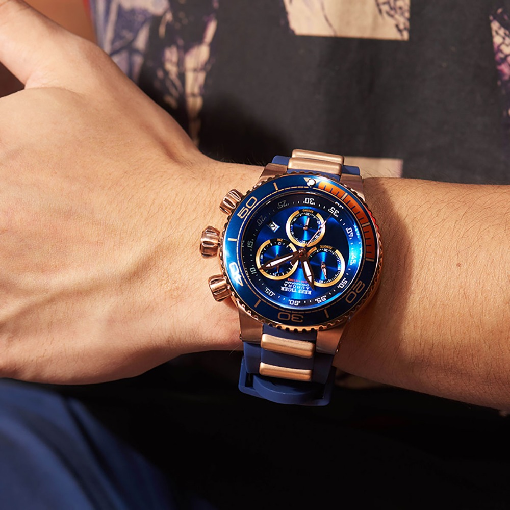 Reef Tiger/RT de lujo azul reloj deportivo para hombres oro rosa impermeable relojes correa de caucho Relogio Masculino RGA3168