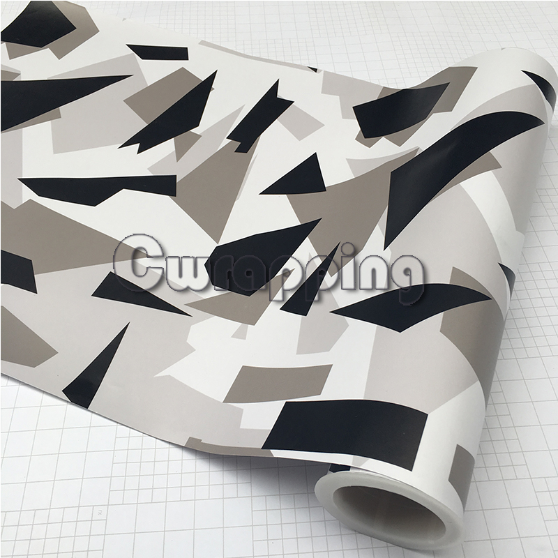 цена на 50cm x 2m/3m/5m Arctic Camo Film Sheet Black White Camouflage Vehicle Wrap With Air Bubble Free Motorbike Scooter Decal Rolls