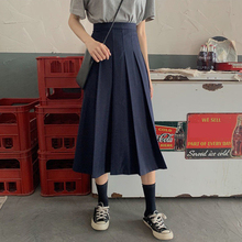Vintage Preppy Style Women Casual Skirt Summer Solid Color Pleated Midi Skirt Korean Fashion A Line High Waist Skirts Womens S-L stylish high waisted solid color a line midi skirt for women