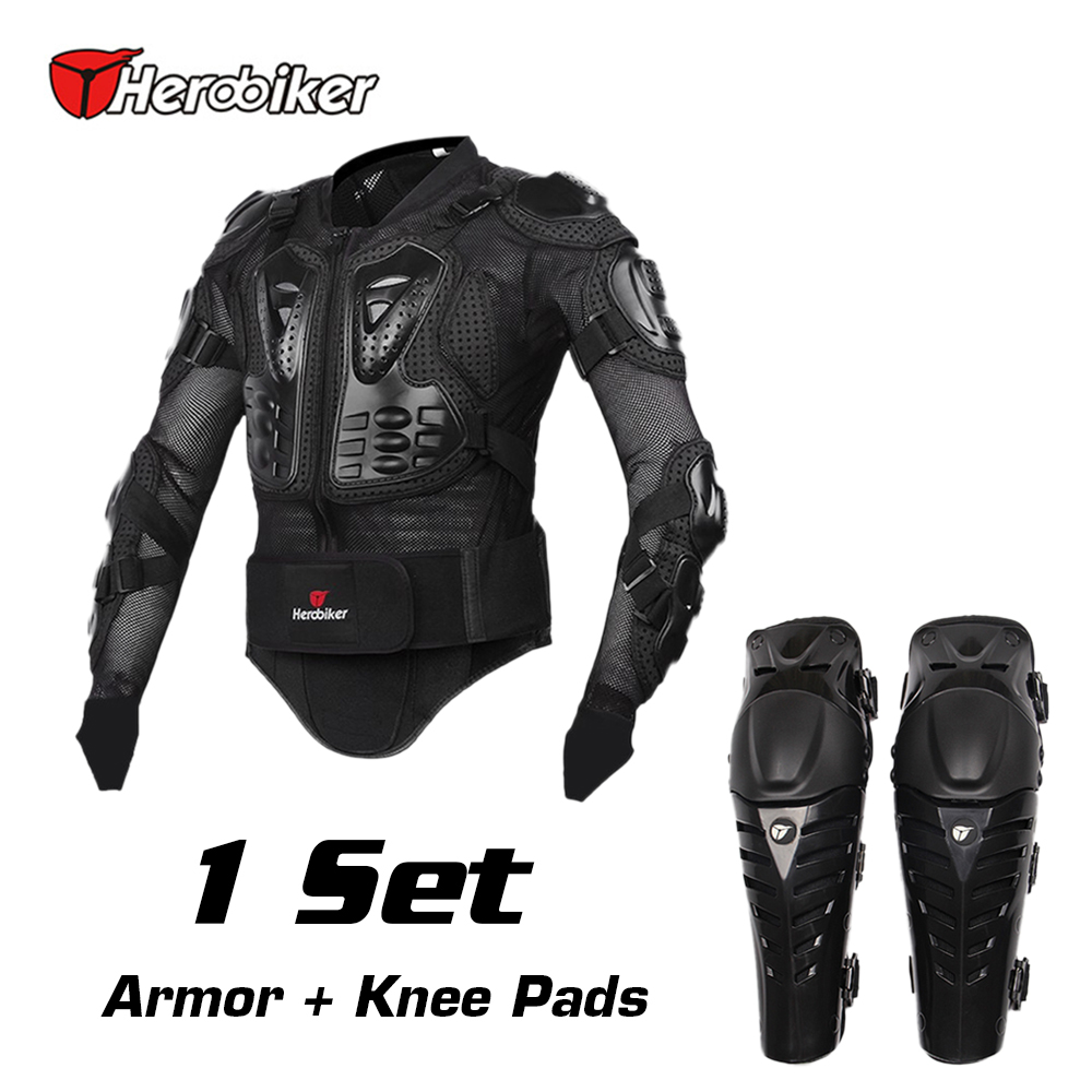 HEROBIKER Motorcycle Riding Body Armor Jacket + Knee Pads Set Motorcross Off-Road Racing Elbow Chest Protectors Protective Gear herobiker black motorcycle racing body armor protective jacket gears short pants motorcycle knee protector moto gloves