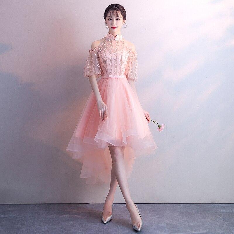 2019 nouveau rose maille courte Cheongsam Royal fille soirée robe de bal exquise dentelle fleur femmes Qipao scène Performance robes