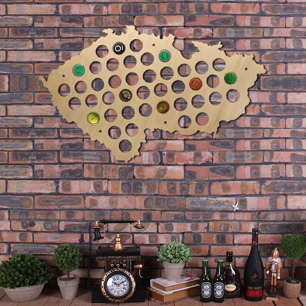 Czech Republic Beer Cap Map Pub Bar Beer Bottle Cap Display Holder Patriotic Czech Map Wooden Wall Sign Man Cave Beer Lover Gift(China)