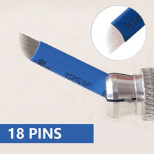 100 PCS Blue 18-Pin Permanent Makeup Manual Eyebrow Tattoo Needles Blade For 3D Embroidery Microblading Tattoo Pen Machine