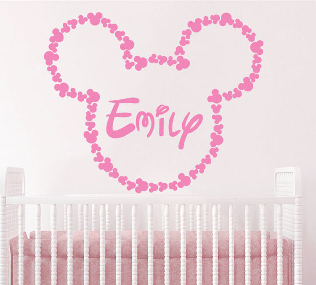 Princess Room Decoration Personalized Customized Name Wall Sticker Mickey Head Removable Vinyl Baby Room Decals CA 7-in Wall Stickers from Home u0026 Garden on ...  sc 1 st  AliExpress.com & Princess Room Decoration Personalized Customized Name Wall Sticker ...