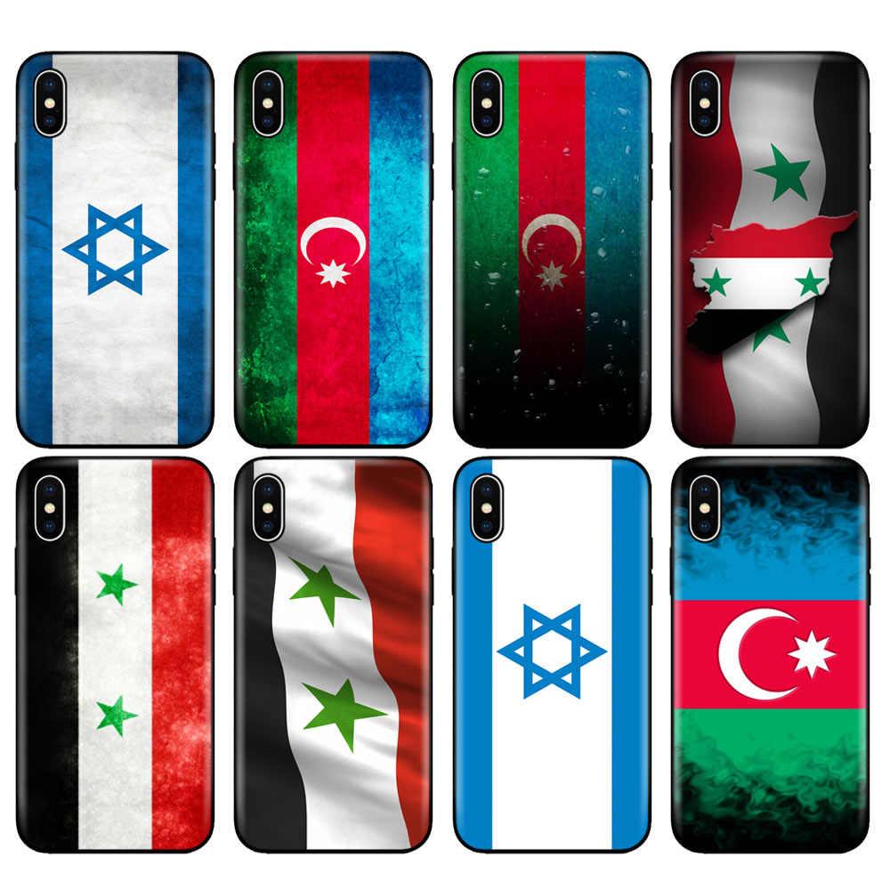 กรณีTPUสีดำสำหรับiPhone 5 5s SE 2020 6 6 S 7 8 PLUS x 10 สำหรับiPhone XR XS 11 PRO MAXอาเซอร์ไบจานซีเรียธงอิสราเอล