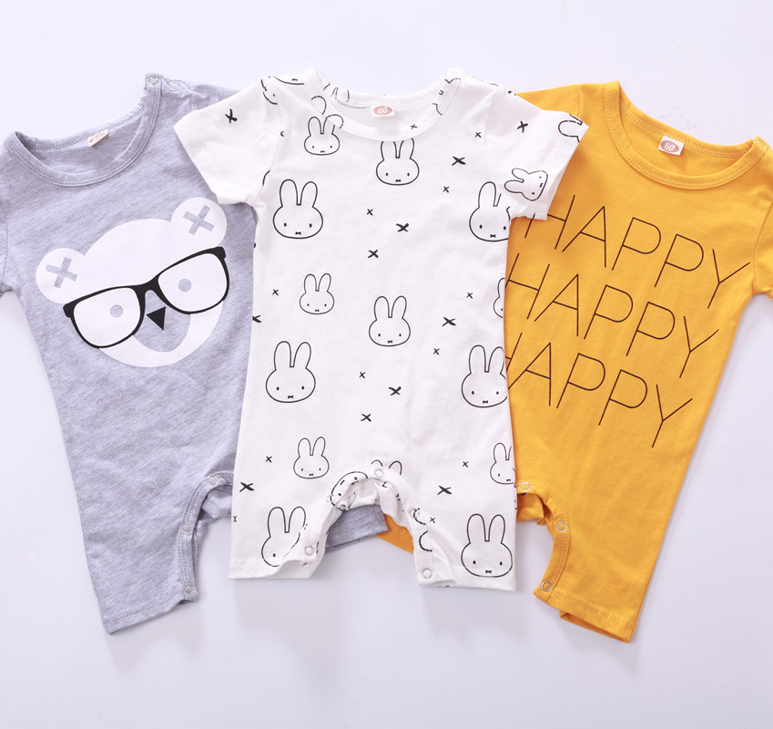 Baby Rompers Newborn Baby Boy Clothes Cartoon Short Sleeve Baby Clothing Roupa Infantil Body Bebes Jumpsuit
