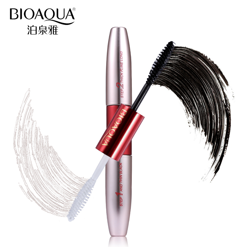 BIOAQUA Brand Double Ended White+Black 3D Fiber Mascara Waterproof Nourish Makeup Lash Rimel Curling Eyelash Extension Make Up