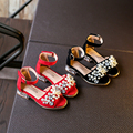 new arrival princess summer shoes pearl beading children girls sandals high quality little/big kid size 26~33 in red black shoe
