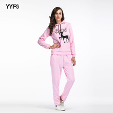 Winter Casual Clothing Sets Women Autumn Christmas Deer Printed Fleece Warm Hoodies Long Pants 2pcs Suits