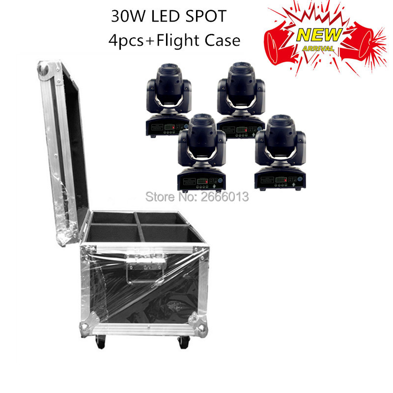 4pcs with Flight case 30W LED spot moving head lights LED pattrens disco dj stage effect light/30W mini gobo projector LED lamp led 30w spot moving head lights party disco dj stage lighting 30w mini gobo projector dmx stage effect light led pattern lamps