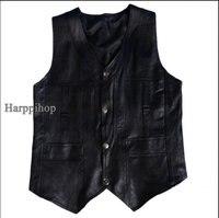 Harppihop Men Genuine Sheepskin Leather Vest Spring And Summer Vest Fur Male Genuine Leather Plus Size
