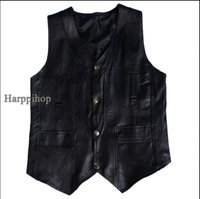 Harppihop Men genuine sheepskin leather vest spring and summer vest fur male genuine leather plus size 5XL 6XL free shipping