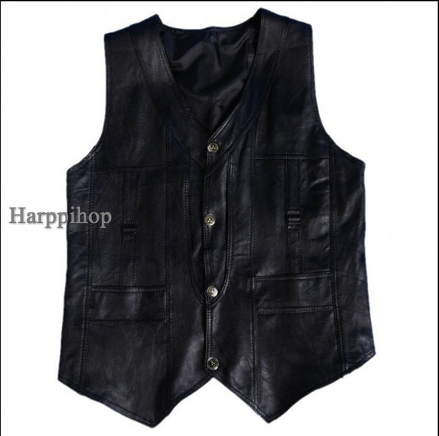 Harppihop Men genuine sheepskin leather vest spring and summer vest fur male genuine leather plus size 5XL 6XL free shipping
