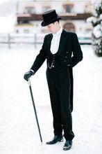 (מעיל + מכנסיים + אפוד) שחור מעיל זנב סנונית קסם חליפות Custome Homme אופנה Terno Masculino האחרון עיצובים Slim Fit חליפות גברים
