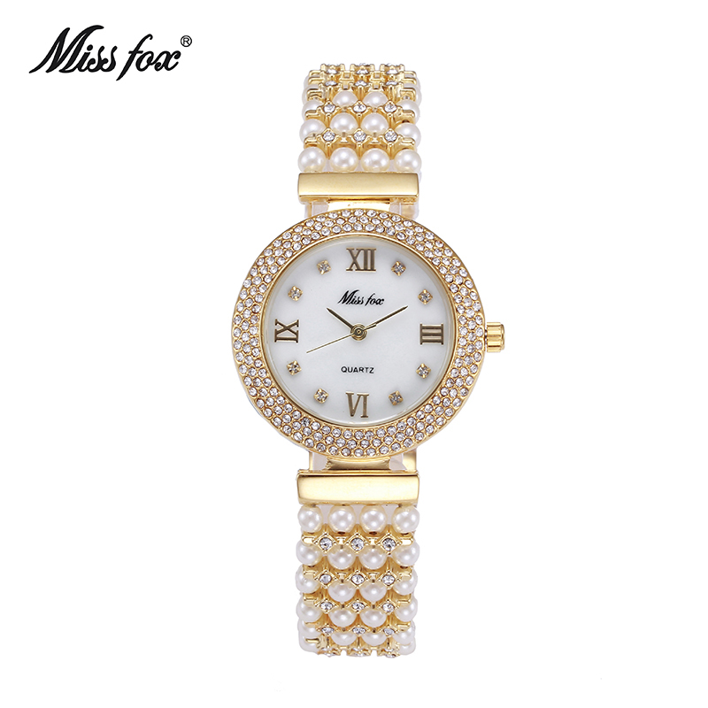 MISSFOX Nature Pearl Watch Women Famous Brand Stainless Steel Back Water Resistant Gold Watch Quartz Diamond Timepiece Women