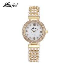 MISSFOX Reloj de perlas naturales para mujer, de acero inoxidable, resistente al agua, dorado, de cuarzo, con diamantes