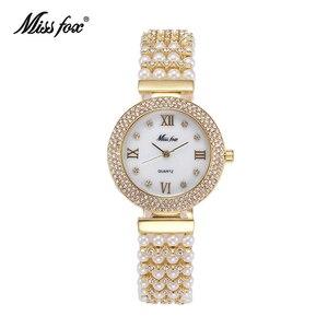 Image 1 - MISSFOX טבע פרל שעון נשים מפורסם מותג נירוסטה בחזרה מים עמיד זהב שעון קוורץ יהלומי שעון נשים