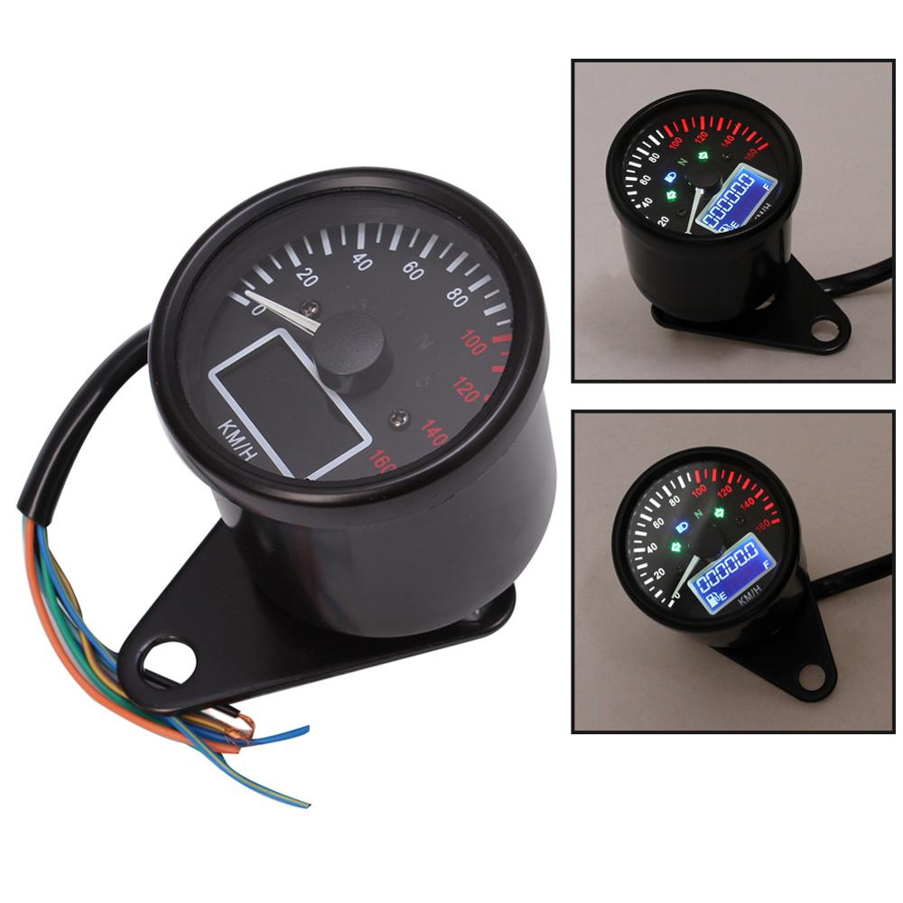 Universal Motorcycle Digital LCD Speedometer Odometer Gauge Waterproof Dual Speed meter Power Fuel Tank Display Gauge image