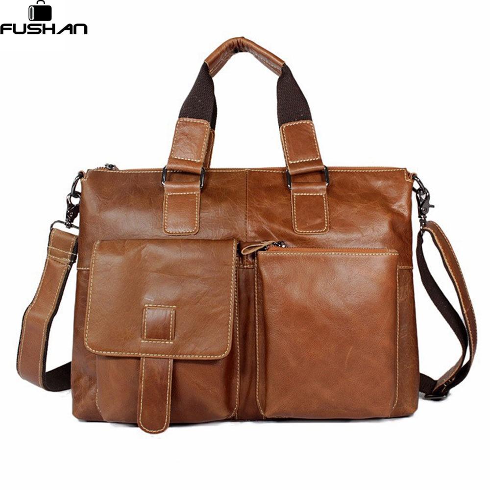 ФОТО 100% Genuine Leather men bag Shoulder Bags Brand New men briefcase business men travel bags tote Men messenger bags 2015 new