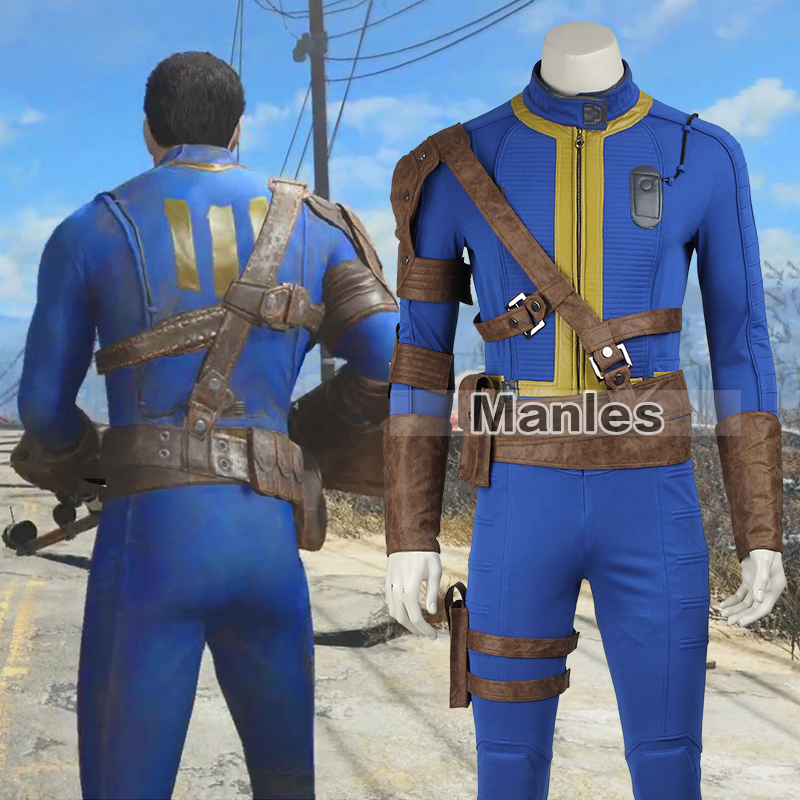 PC Game Fallout 4 Nate Costume Cosplay Adult Men Male Sole Survivor Popular Suit Hallowe ...