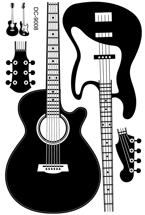 Decorate 60x90cm black guitar art wall sticker decoration Decals mural painting Removable Decor Wallpaper LF 141 in Wall Stickers from Home Garden