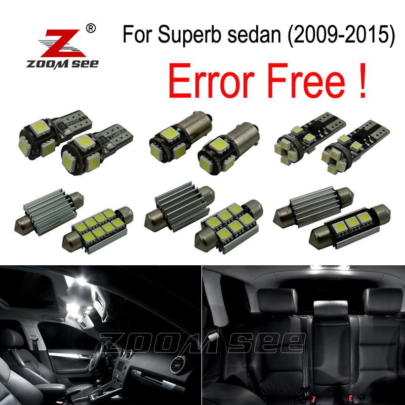 21pcs Error Free  LED bulb Interior dome Light Kit for Skoda Superb sedan saloon MK2 MKII 3T4 (2009-2015) 15pc x 100% canbus led lamp interior map dome reading light kit package for audi a4 s4 b8 saloon sedan only 2009 2015