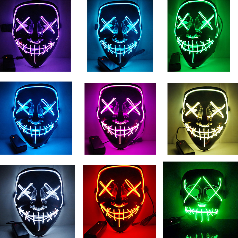 Easter Halloween Led Luminous Mask Horror Grimace Bloody EL Wire Christmas Carnaval Party Club Bar DJ