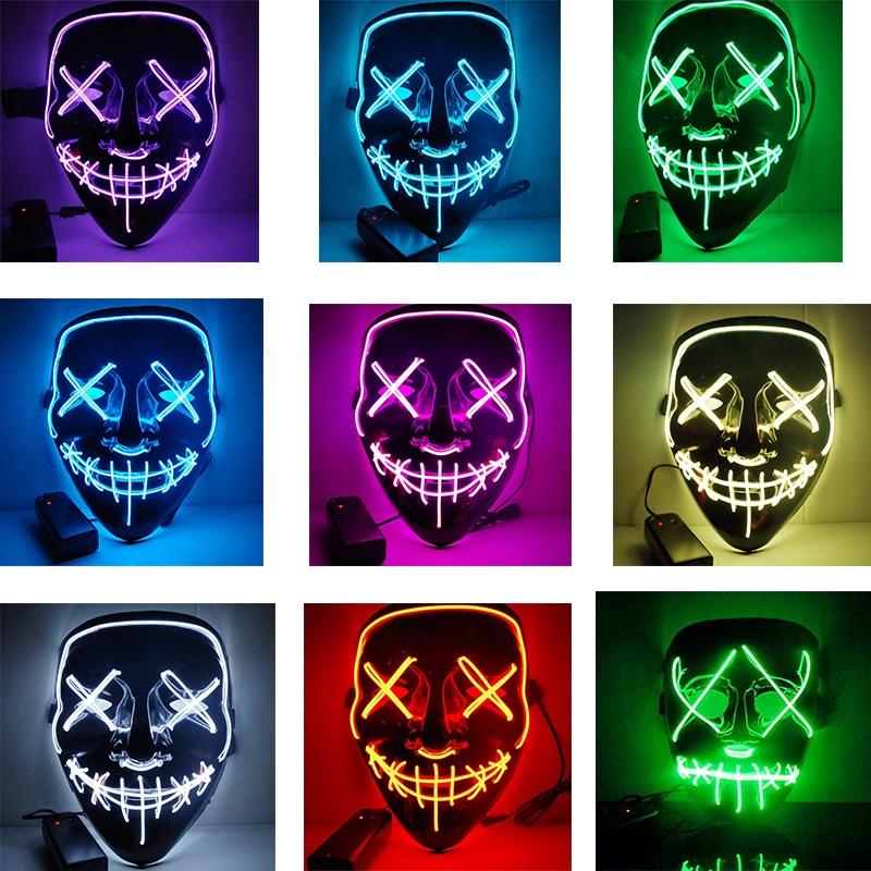 Pascua Halloween Led máscara luminosa Horror Grimace sangriento EL alambre Navidad Fiesta Club Carnaval Bar DJ máscara de cara completa brillante