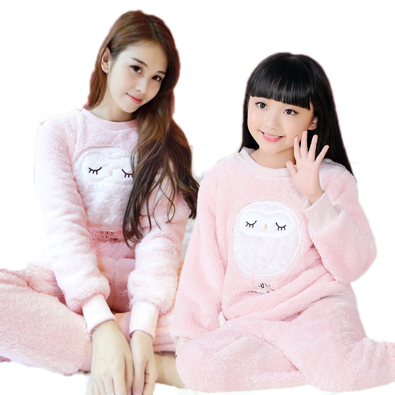 Coral Cashmere Princess Girl Suit Family Matching Clothes Autumn Winter Family Pajamas Set Matching Clothes Family Look Clothing ...