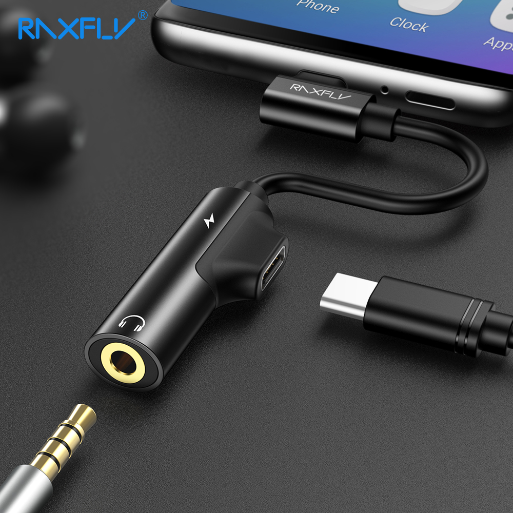 RAXFLY 2 in 1 USB di Tipo C a 3.5mm AUX Adattatore Per Xiao mi mi 6 mi 8 3.5 cuffia Martinetti Audio Convertitore Del Caricatore Per Huawei P20 Pro
