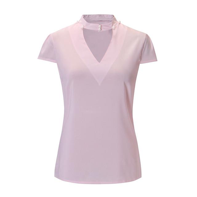 ISHOWTIENDA 2018 Summer Blouse Women Chiffon Short Sleeve  Shirt Top Blouses womens clothing  tops mujer verano Ladies Clothing