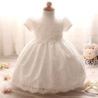 1 תינוקת שמלות יום הולדת לשנה טבילת Bebes יילוד בגדי תינוקות נסיכת שלג לבנה תחרת הטבלה שמלה עבור בנות