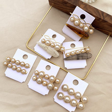 3pcs/set Girls Metal Pearl Marble Hair Clip Combination Barrette Pearls Hairpin BB hair Accessories Korea style ins