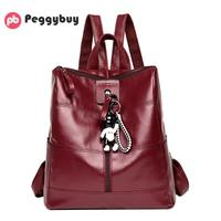 Fashion Women Soft PU Leather Backpacks 2018 New Elegant And Simple School Bag For Teenagers Girls
