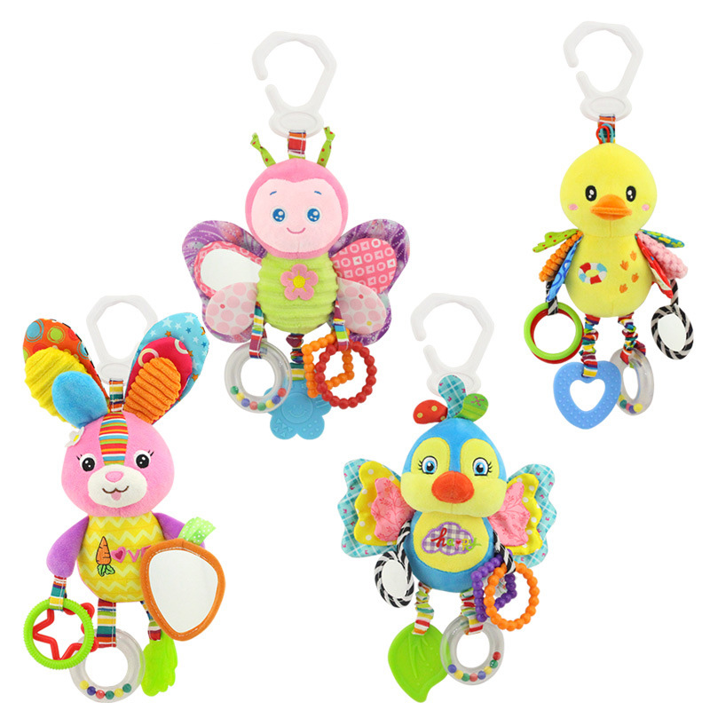 Newborn Baby Stroller Hanging Toy Cute Animal Doll Bed Hanging Plush Toy Rattle Bed Bell Activity Soft Toys Sleep Well Tool