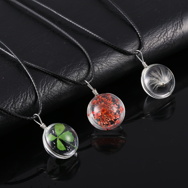 Hot fashion crystal glass ball clover dandelion necklace