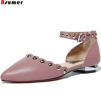 ASUMER Pink Green Fashion Women Pumps Pointed Toe Genuine Leather Shoes Buckle Sweet Ladies Single Shoes